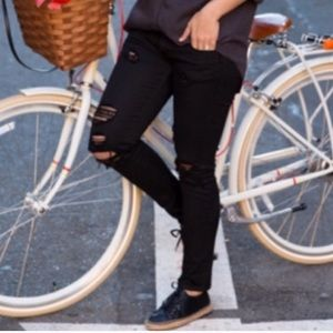 IRO Rudolf Shredded Ripped Skinny Jeans Black Low